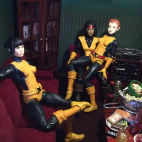 ahne Sinclair and Dani Moonstar action figure customs living room with Shan by Suzanne Forbes June 2019