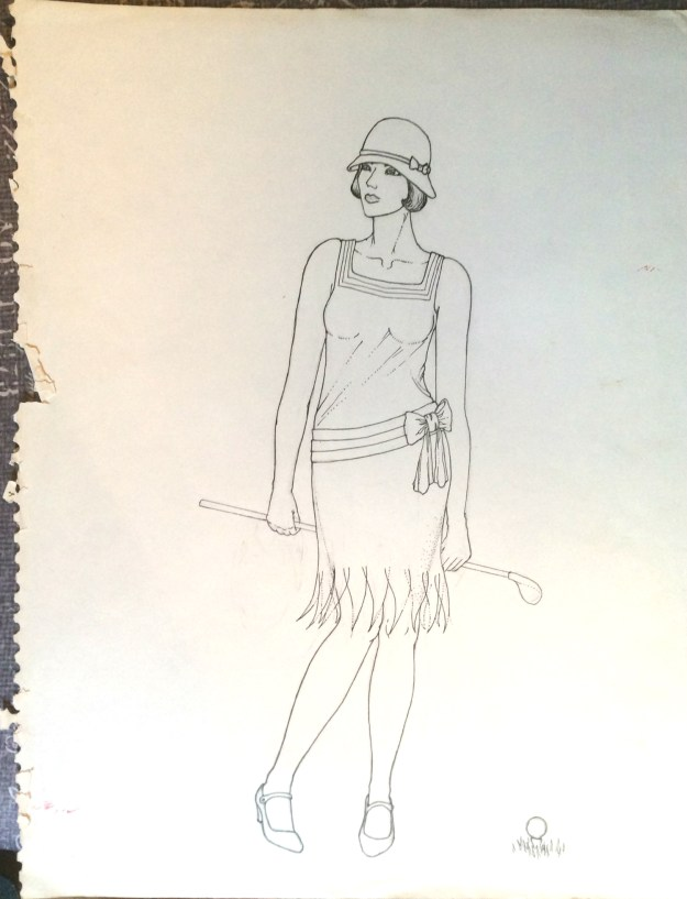 Pinup of flapper Spring 1982 or 3 by Rachel Ketchum aka Suzanne Forbes