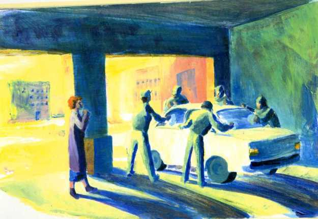 Auto shop color study for Tom Garrettt Illustration Class Fall 1990 Rachel Ketchum