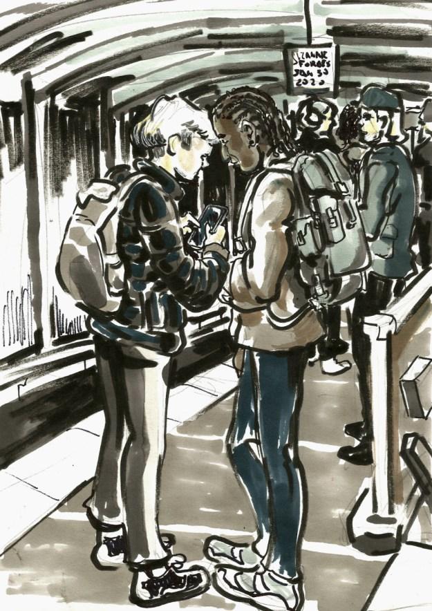 Unterwegs boys on the U Bahn Jan 30 2020 Suzanne Forbes