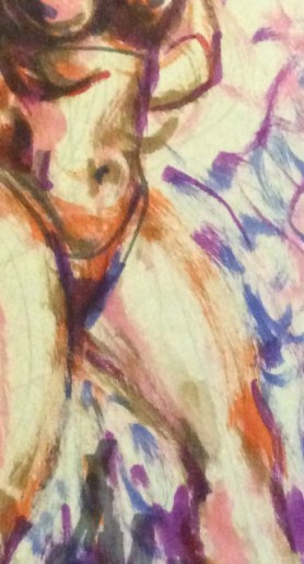 Watercolor marker drawing of Chiqui Love by Suzanne Forbes Jan 28 2020 detail
