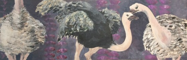 Ostrich painting for Tom Garrettt Illustration Class 1991 by Rachel Ketchum aka Suzanne Forbes