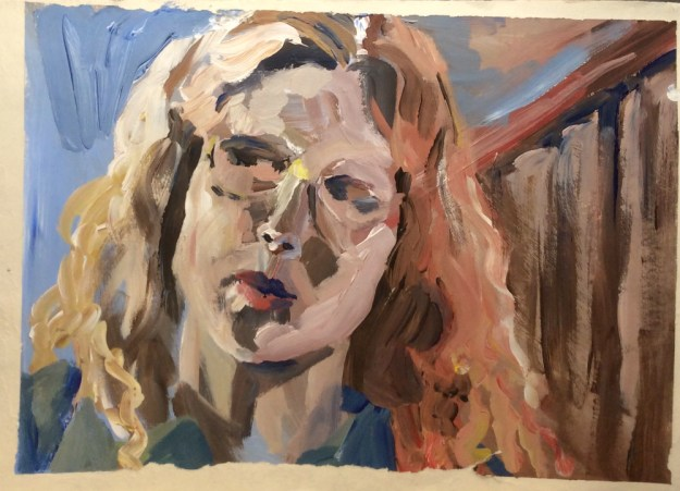 Self portrait acrylic on paper horizontal prob early 1990 Rachel Ketchum aka Suzanne Forbes