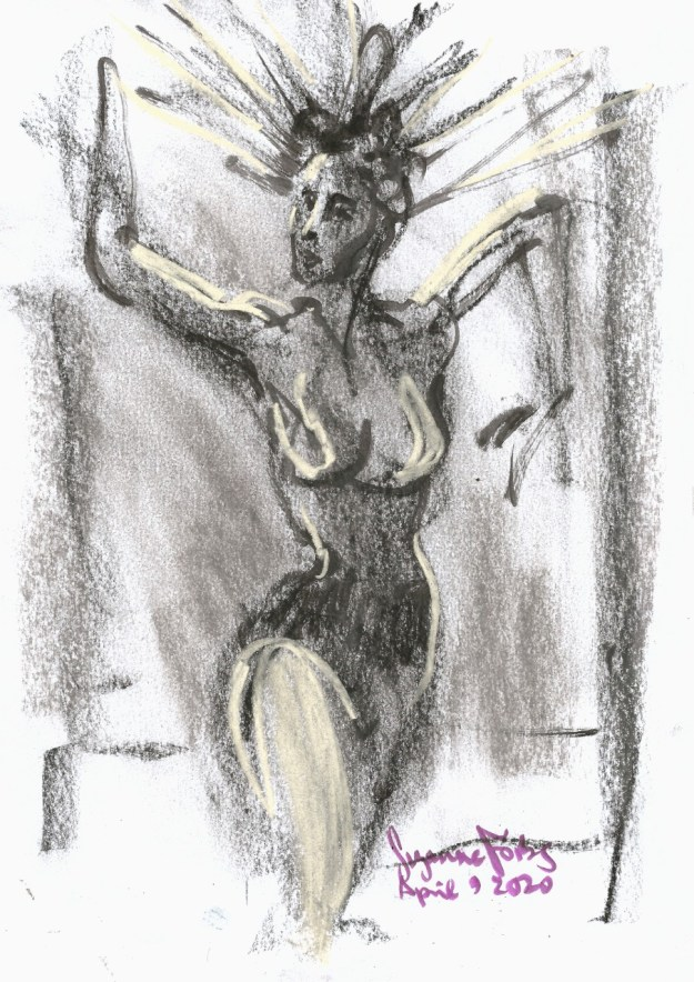Dunja von K for Full Moon Cabaret Egg Moon April 9 2020 by Suzanne Forbes
