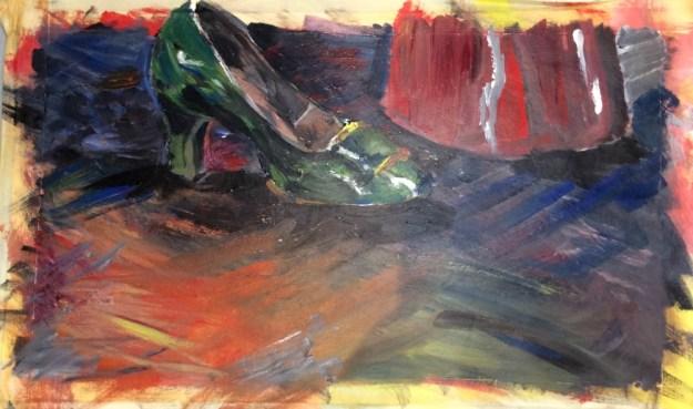 Shoe acrylic on paper horizontal prob fall 1989 by Rachel Ketchum aka Suzanne Forbes