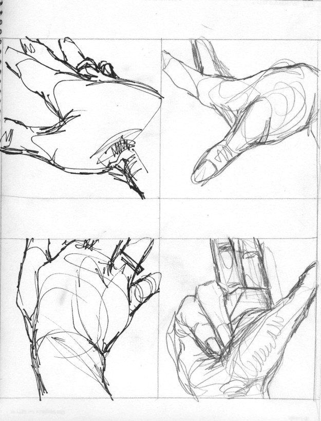Sketchbook Winter 1990 Minneapolis hands 1 by Rachel Ketchum aka Suzanne Forbes