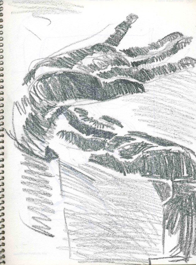 Sketchbook Winter 1990 Minneapolis hands 4 by Rachel Ketchum aka Suzanne Forbes