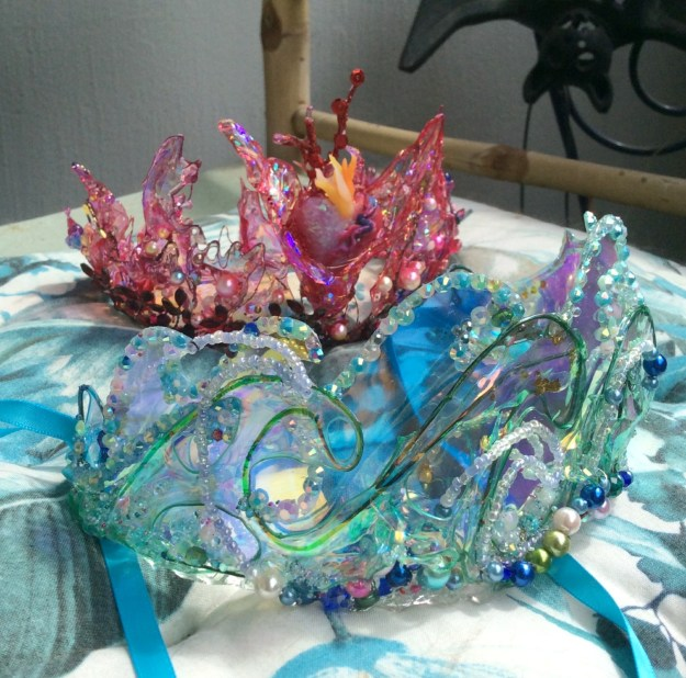 Fire and Water UV resin and holographic vinyl crowns by Suzanne Forbes July 2020 blue