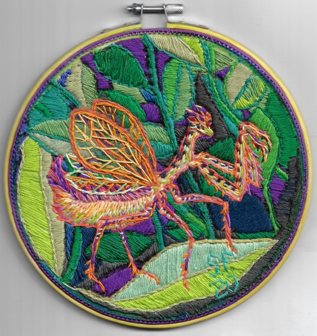 flower mantis embroidery by Suzanne Forbes September 30 2020