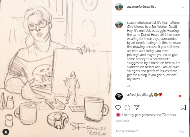 Instagram Dec TOS change drawing by Suzanne Forbes Dec 21 2020