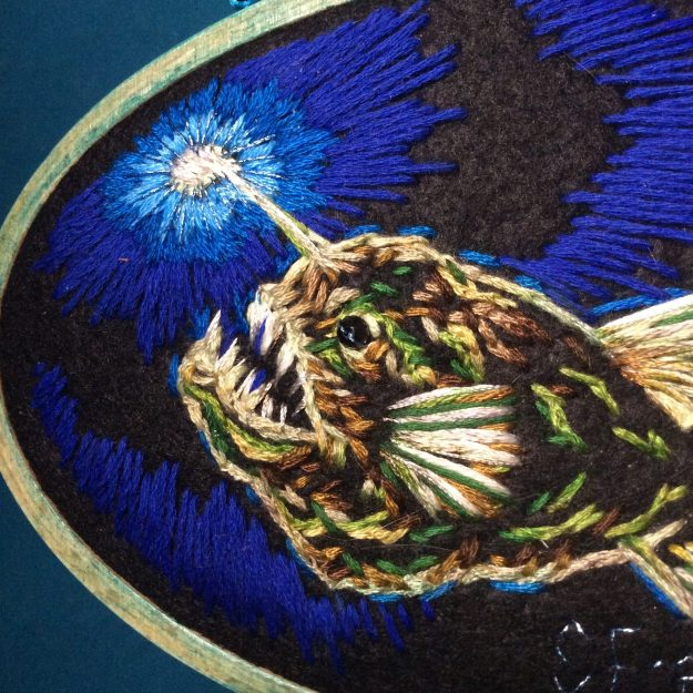 Make Own Light Anglerfish embroidery by Suzanne Forbes June 16 2021