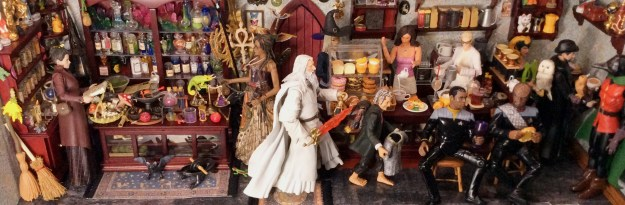 Dollhouse miniature magic shop and coffee roastery with action figures by Suzanne Forbes June 2021