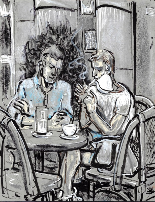 Outside Cafe Einstein West Berlin July 17 2021 seated men by Suzanne Forbes