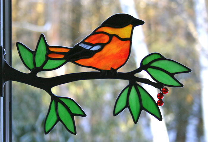 Chippaway Art Glass Window Frame Birds On Branches