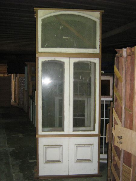 original secondhand set french doors in frame with fanlight door