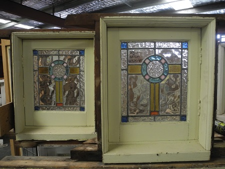 original secondhand pair small federation casement windows leadlight