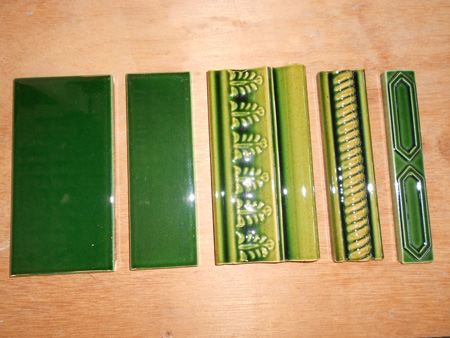 new reproduction ceramic victorian federation art nouveau tiles smiths vic victorian green series