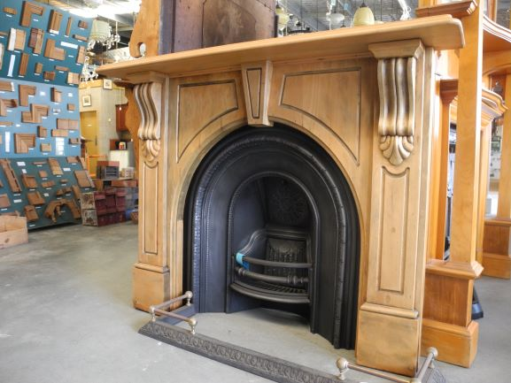 original original secondhand victorian timber fireplace mantle