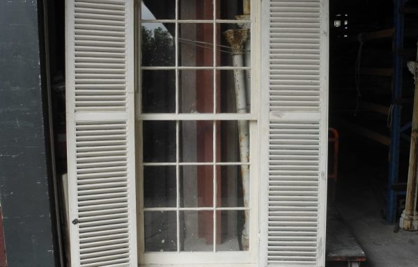 Large Multi light double hung window With shutters  034