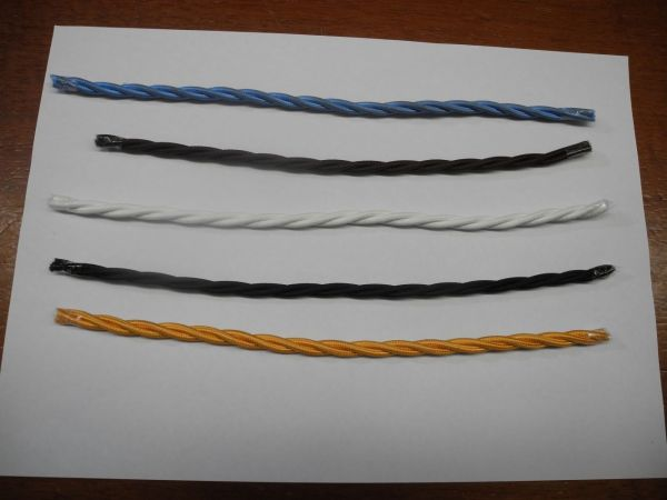 twisted cotton covered 3 core cable earthed flex