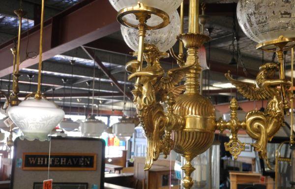 Original Victorian Brass Three Cherubs Pendant  Light