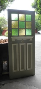 original secondhand edwardian multilite front door with coloured glass