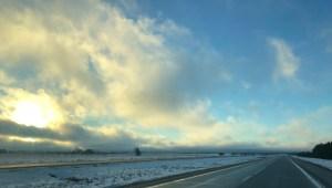 Winter sunshine on i-75 in Chippewa County