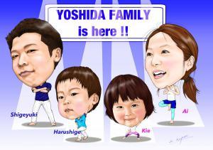 家族集合似顔絵