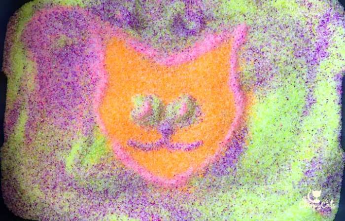 neon cat litter art