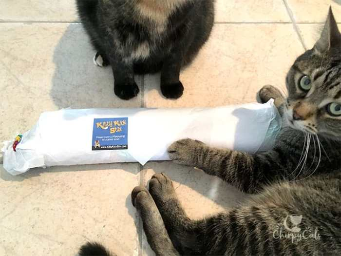 Unwrapping the Kitty kick Stix catnip kicker toy