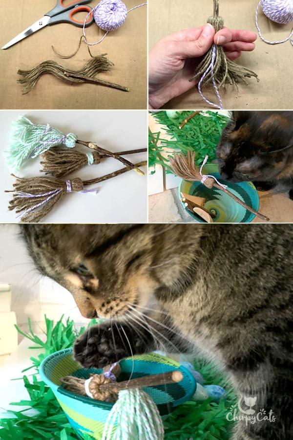 DIY cat toys made from cat vine sticks