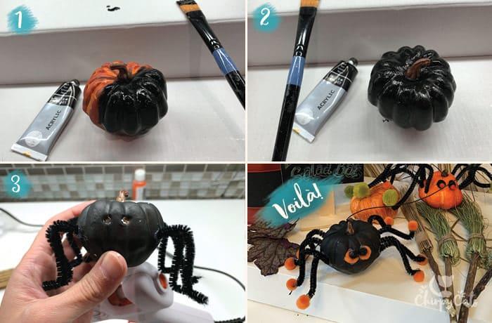 diy pumpkin painted black to make black spider cat toy