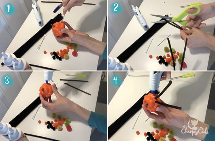 diy step by step instructions for making pumpkin spider cat toys