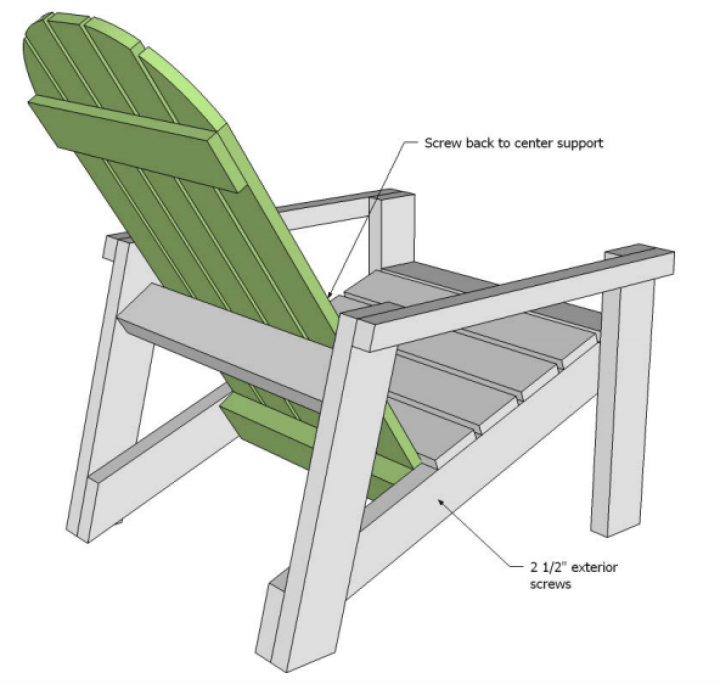 Adirondack chair plans for attaching back
