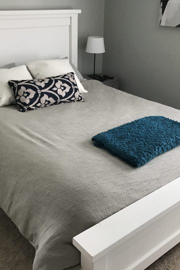 shot of DIY Farmhouse Bed