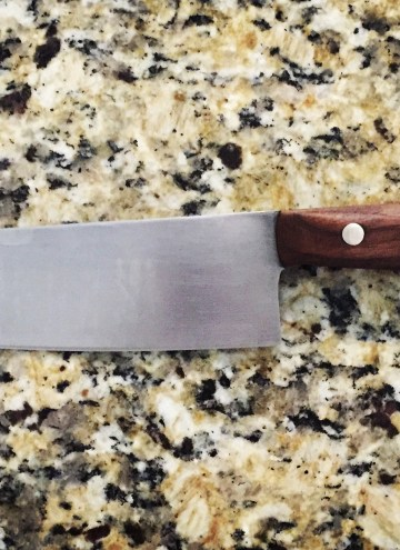 close-up of homemade chef's knife