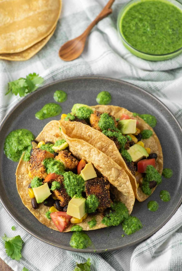 two tofu tacos on plate