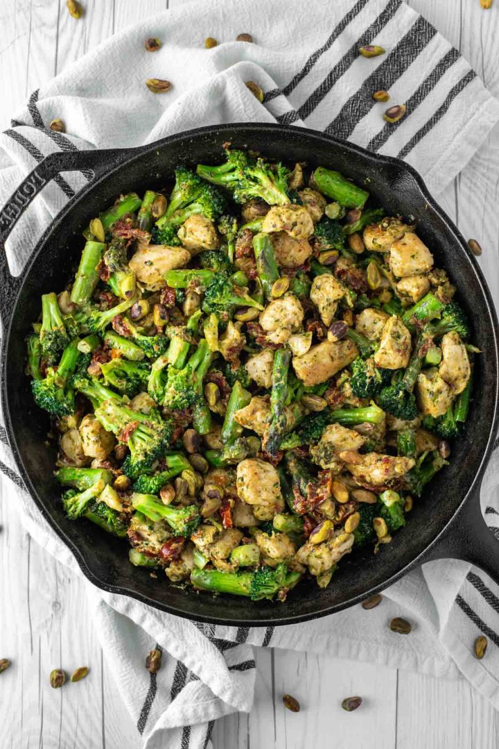 overhead shot of chicken and veggies in cast iron skillet