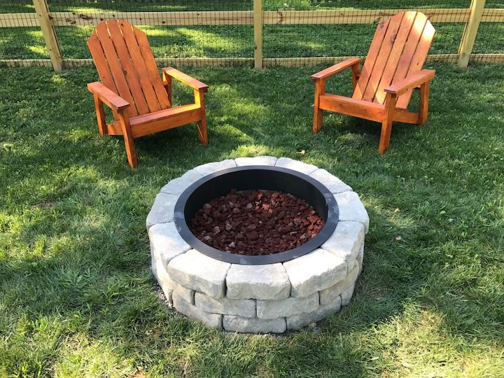 DIY fire pit with Adirondack chairs