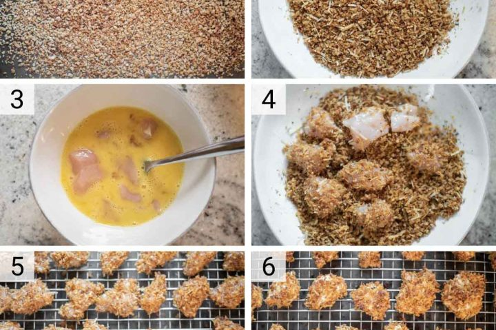 process shots of how to make baked chicken nuggets