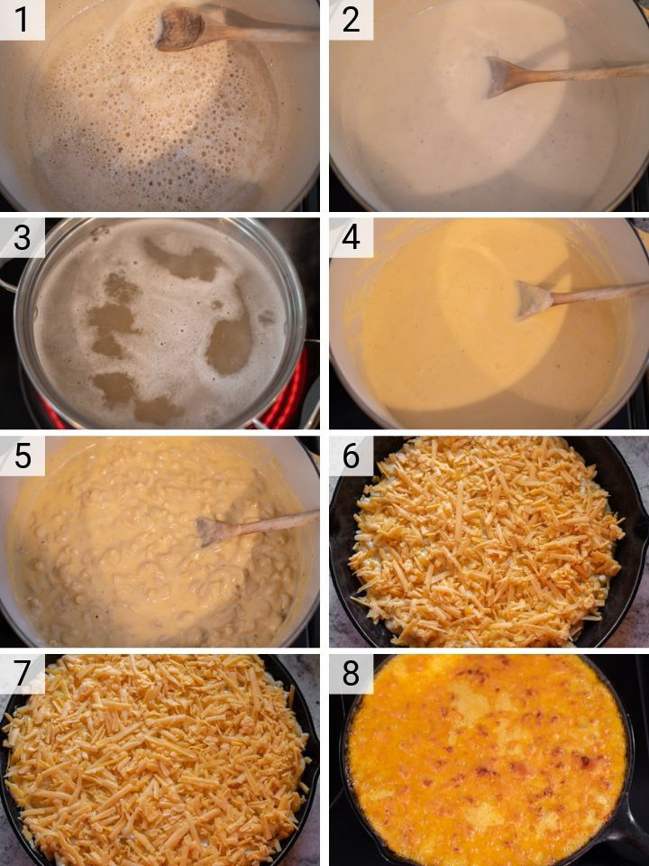 process shots of how to make baked cheddar mac and cheese