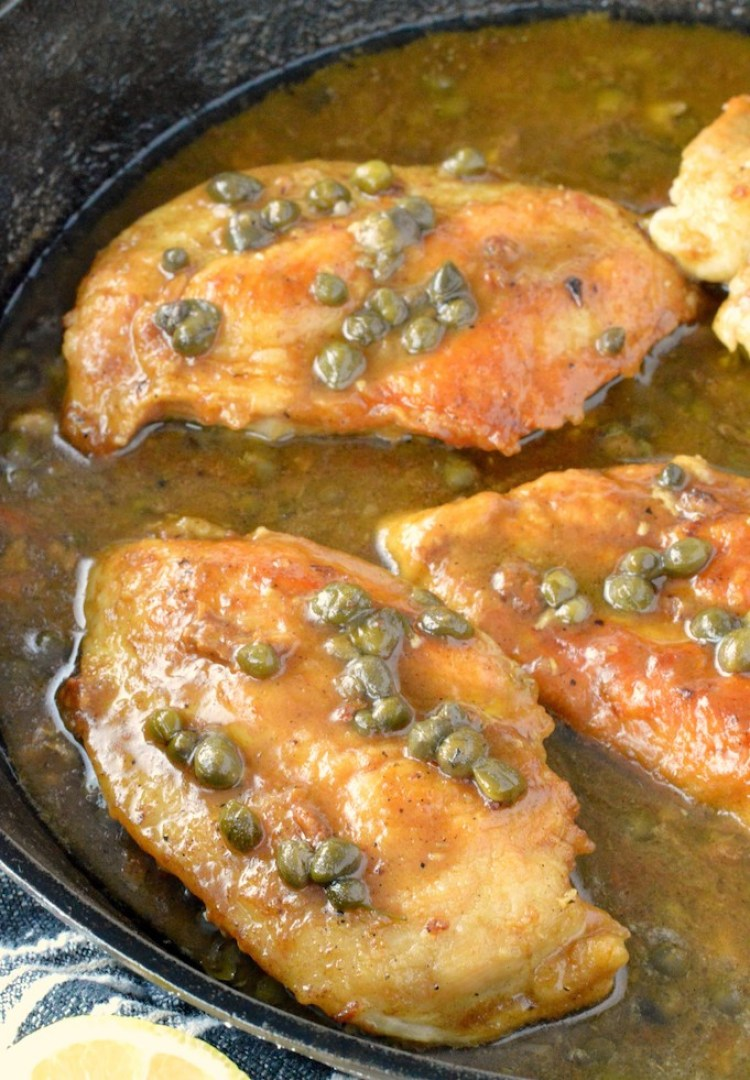 close-up of easy chicken piccata recipe in skillet