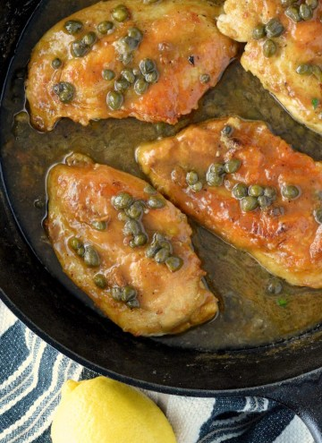 overlay of easy chicken piccata recipe in skillet