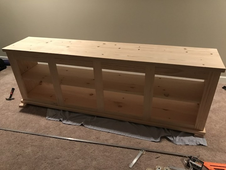 building top and making sure it fits entertainment center