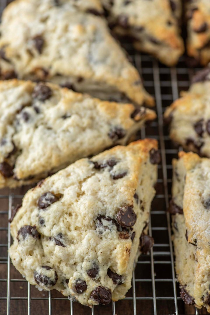chocolate chip scones on wire rack