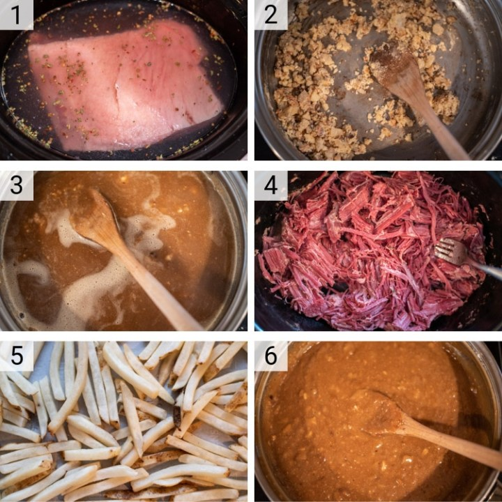 process shots of corned beef poutine