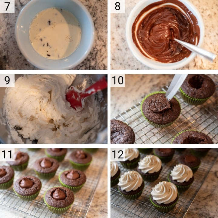process shots of Irish Car Bomb Cupcakes being made