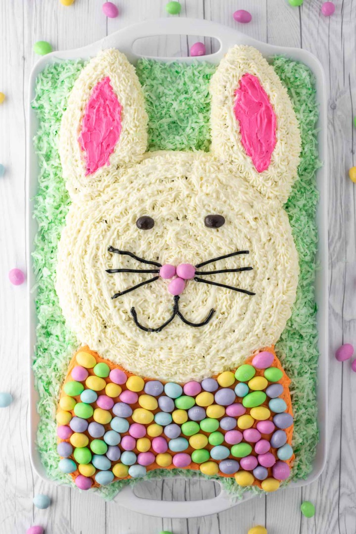 overhead shot of Easter bunny carrot cake on platter