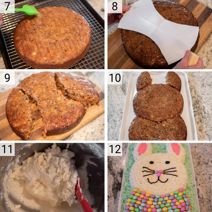 process shots of how to make an Easter bunny carrot cake