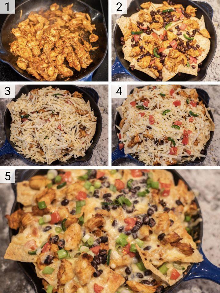 process shots of chicken nachos